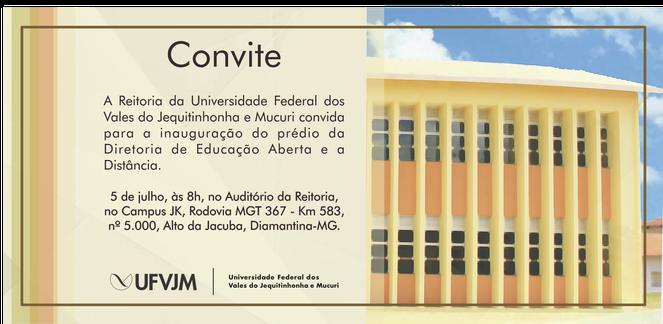 Convite inauguração DEAD - UFVJM