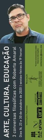 Flyer do evento, na cor verde, em dois tons, tem a foto do professor convidado, o nome do evento, data e horário, as marcas das instituições parceiras e do grupo realizador da atividade.