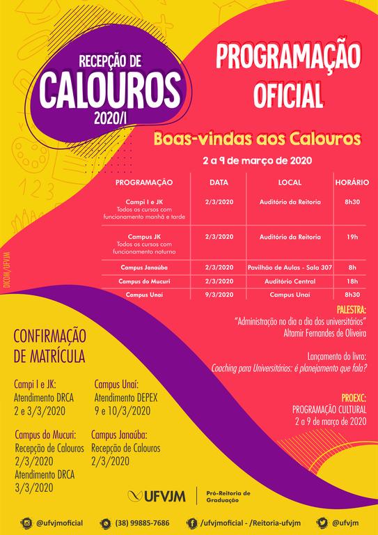 Cartaz Recepção de Calouros 2020/1
