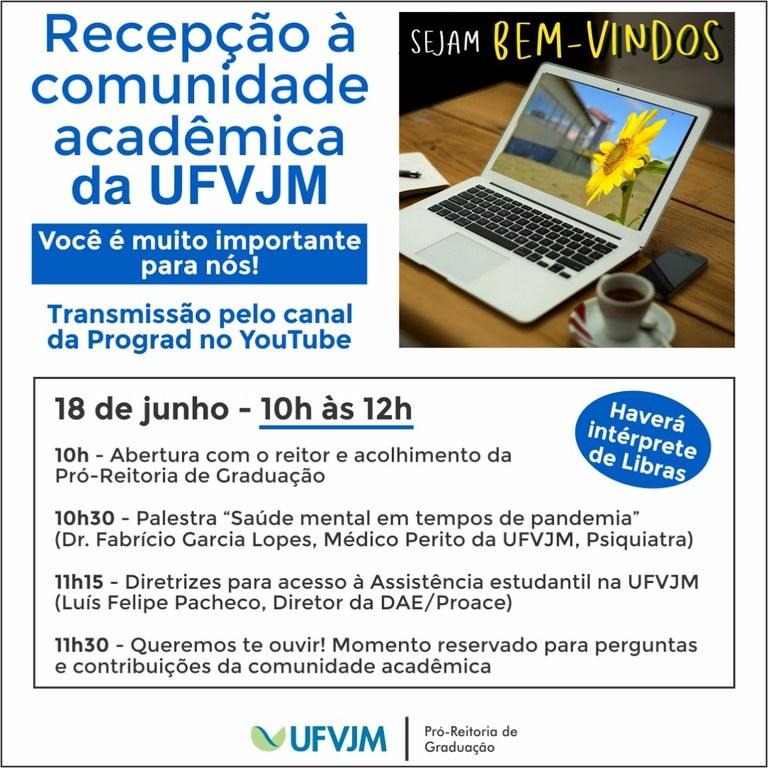 Recepção da comunidade acadêmica para semestre letivo 2020-2 - 10h