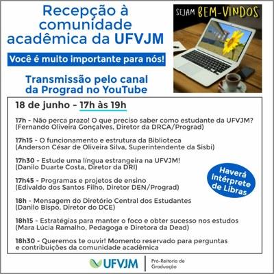 Banner com a programação da Recepção da comunidade acadêmica para semestre letivo 2020/2 às 17h