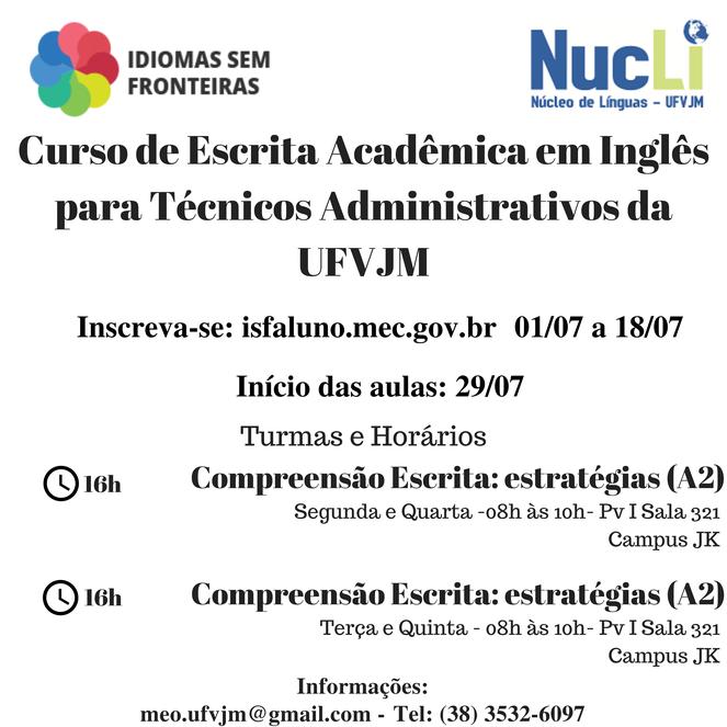 Inglês para técnicos administrativos da UFVJM