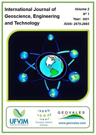 Cartaz representa a capa do volume 3 da revista, ano 2021, ISSN: 2675-2883. O nome da revista está no canto superior esquerdo da peça. Ao centro, em um fundo preto com bordas verdes, a imagem da Terra ao centro, ligada por linhas que lembram um átomo a outras 6 imagens da Terra, em tamanho menor. No rodapé, a marca da UFVJM, do PPGTAS e da revista, com o endereço eletrônico da Geovales.