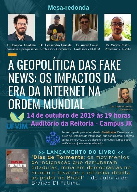 """Cartaz apresenta as informações do evento, foto dos participantes e da capa do livro """"Dias de Tormenta"""" que será lançado durante evento"""