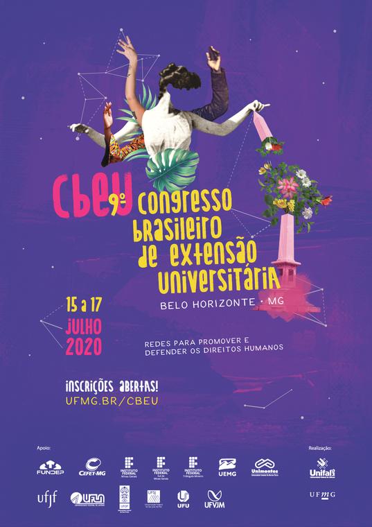 O cartaz do evento possui fundo na cor roxa com algumas partes com tonalidade em rosa. Temos uma imagem representativa, que é uma colagem de diversos elementos, por exemplo, farol como vaso de flores, a parte toráxica de uma estátua de uma mulher segurando a parte de cima desse farol. Na parte de trás da estátua, há braços de pessoas com roupas distintas. Ao centro temos o título do evento 'CBEU - 9º Congresso Brasileiro de Extensão Universitária, em Belo Horizonte/MG. Pouco abaixo do título e ao canto esquerdo tempo a data, 15 a 17 de julho de 2020. Há também o tema do evento: 'Redes para promover e defender os direitos humanos'. Logo abaixo da data temos 'Inscrições abertas' juntamente com o link para inscrição 'ufmg.br/cbeu'. Na parte inferior à esquerda temos as marcas das instituições parceiras do evento e ao lado direito as marcas das responsáveis pela realização.