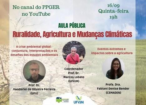 """Aula pública """"Ruralidade, agricultura e mudanças climáticas"""""""