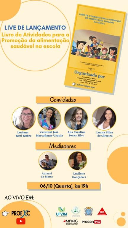 """Live de lançamento do """"Livro de Atividades para a promoção da Alimentação Saudável"""""""
