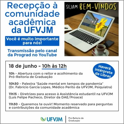 Banner com a programação da Recepção da comunidade acadêmica para semestre letivo 2020/2 às 10h