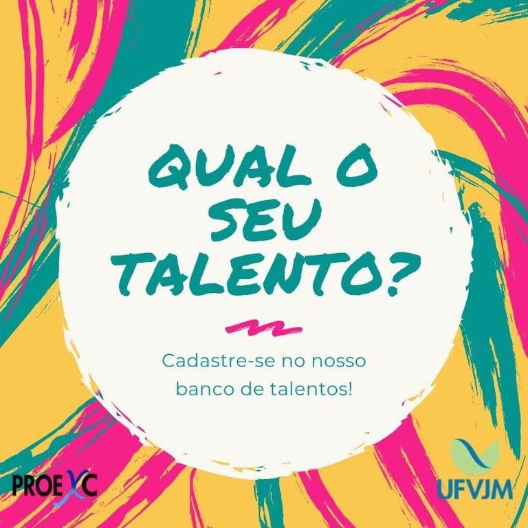 Banner da campanha de  inscrição do banco de talentos da UFVJM 2019