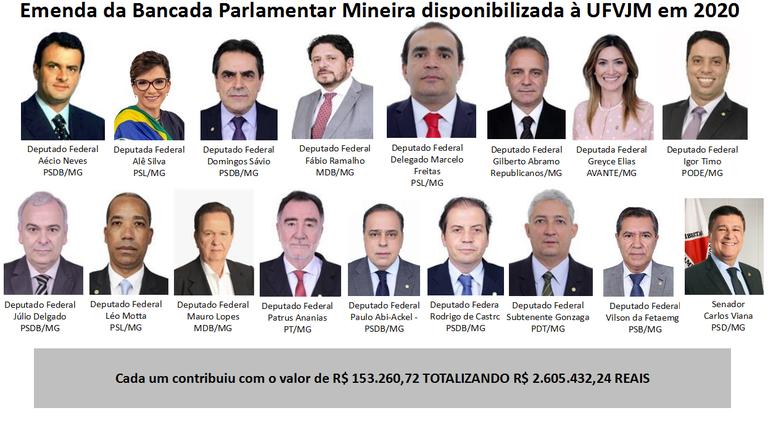 Emenda da Bancada Parlamentar Mineira disponibilizada à UFVJM em 2020
