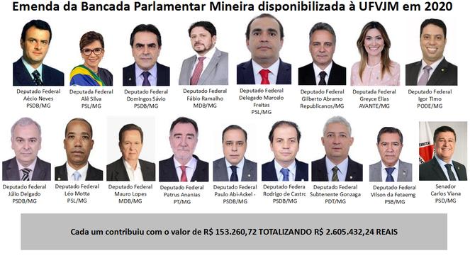 Deputados federais e senador que disponibilizaram emenda de bancada em 2020 à UFVJM