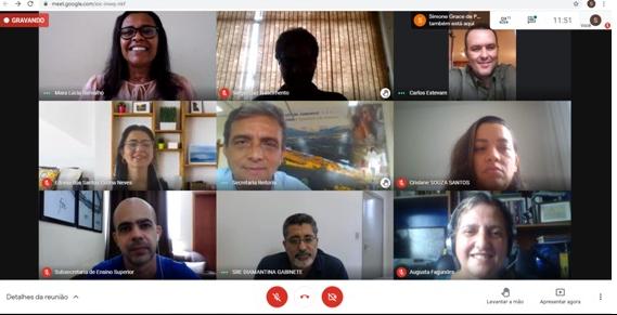 Captura de tela da reunião on-line no Google Meet, realizada para planejamento das ações do Projeto